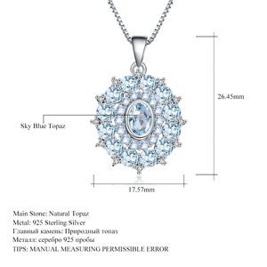 Image 5 - Gems バレエ 4.85Ct 天然スカイブルートパーズ 925 スターリングシルバー宝石用原石ヴィンテージペンダントネックレス結婚式ファインジュエリー用
