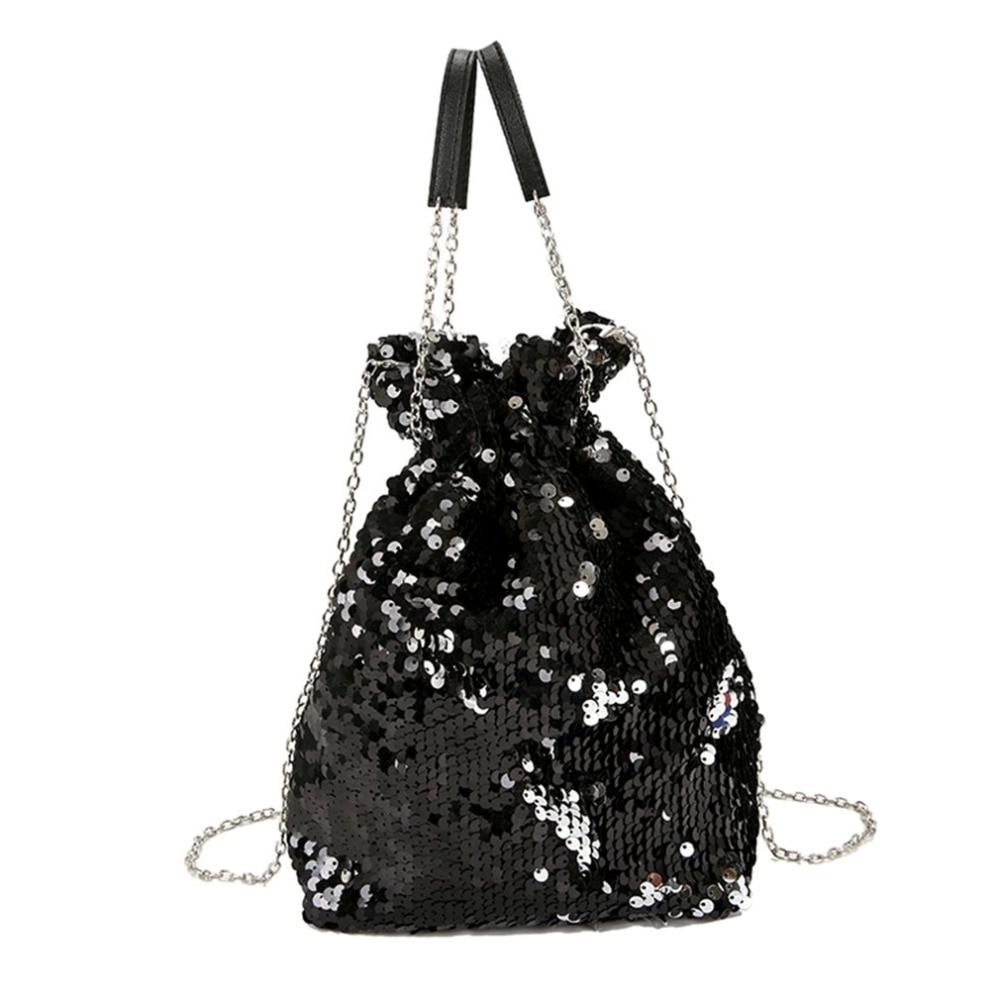 Fashion Women Sequins Chain Shoulder Bag Popular Bucket Bag Woman Girl Trendy Bags