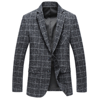GUIXIANG 2017 new arrival autumn and winter fashion Wool classic Blazer casual suits men,Men's grid jacket men Blazers XF012