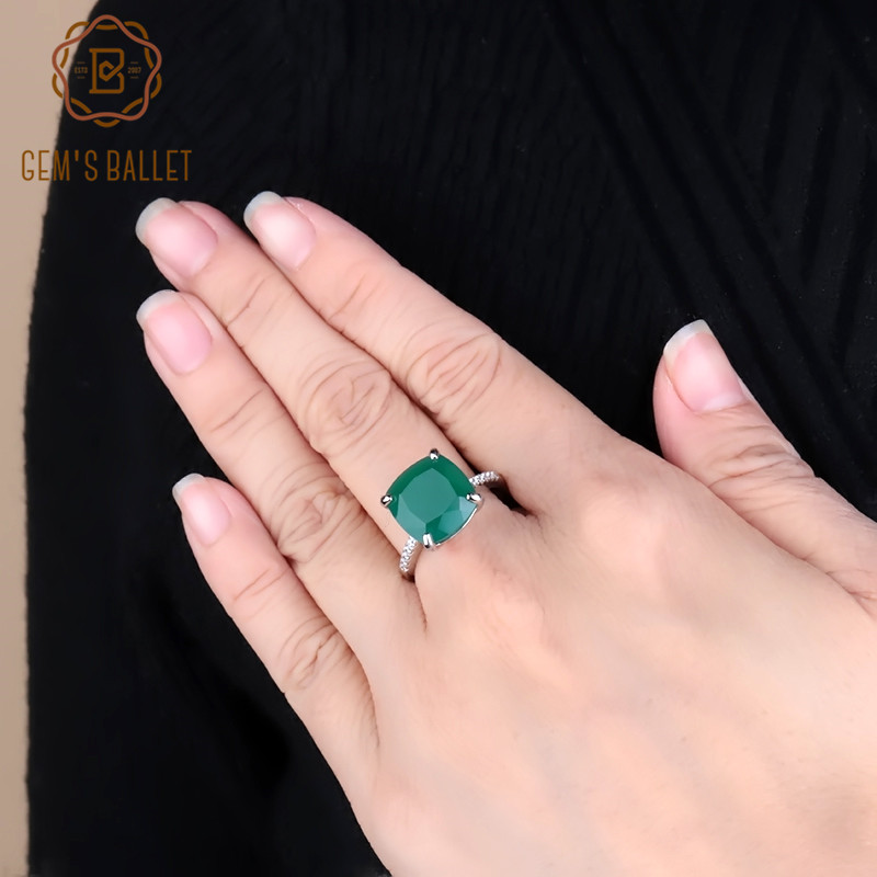 Gem's Ballet 9.66Ct Elegant Natural Green Agate Gemstone Cocktail Rings For Women 925 Sterling Silver Wedding Ring Fine Jewelry