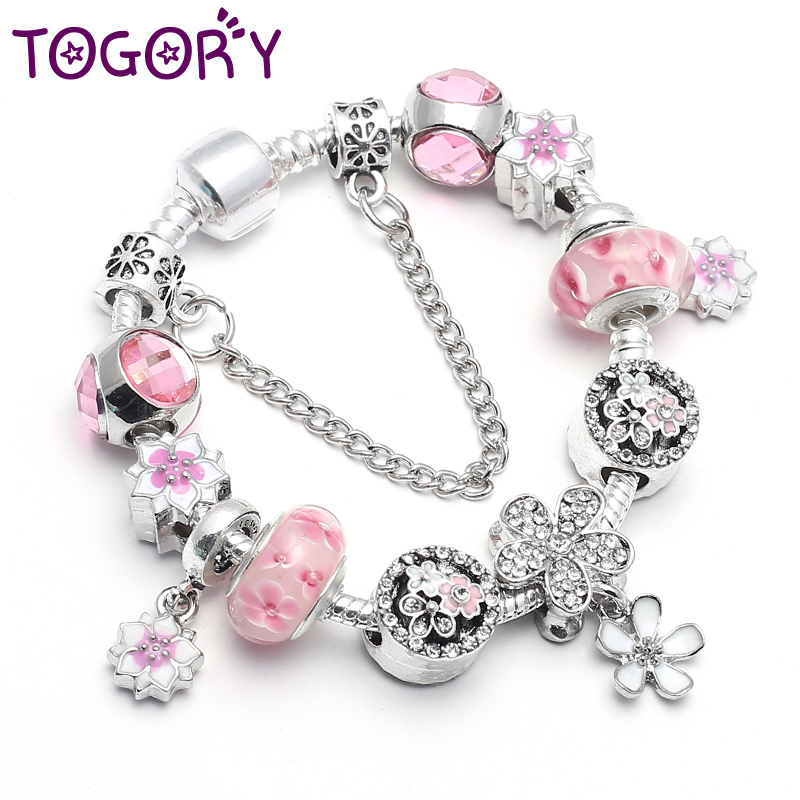 TOGORY Fashion Pink Crystal Bead <font><b>Bracelet</b></font> For Women Cherry Blossoms <font><b>Charm</b></font> <font><b>Pan</b></font> <font><b>Bracelets</b></font> Jewelry Gift Pulseiras Mujer image