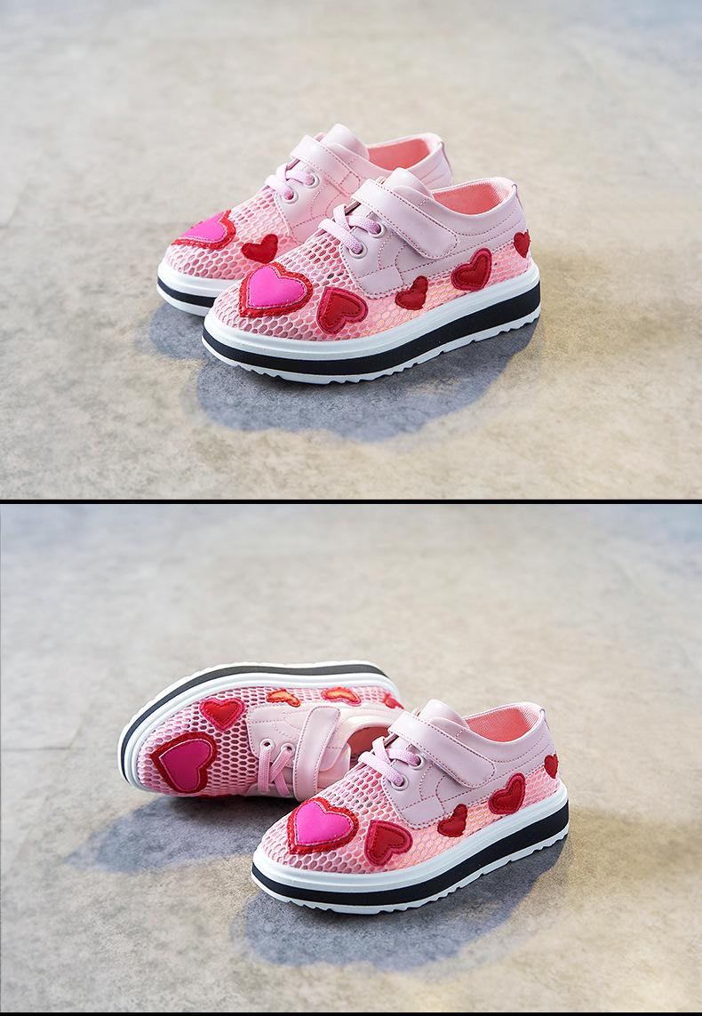 17 Spring girls slip-on love heart shoe for children fashion mesh shoe baby girl brand casual sneaker platform kid sneakers 4