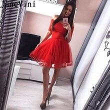 3af1b4f698f66 JaneVini Mezuniyet 2019 Charms Mezuniyet Elbiseleri Kapalı Omuz Kısa  Kırmızı Tül Balo Elbise Yarım Kollu Küçük Siyah Elbise Ferm.