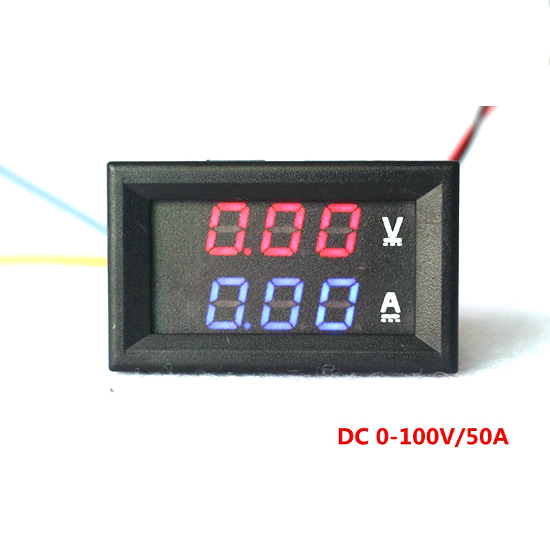 yb27va dc 0 100v 50a digital ammeter voltmeter 2 in 1 digital voltage amp volt meter red blue. Black Bedroom Furniture Sets. Home Design Ideas
