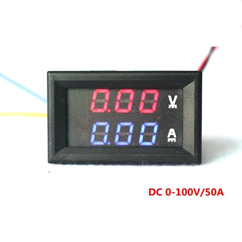 yb27va dc 0 100v 50a digital ammeter voltmeter 2 in 1. Black Bedroom Furniture Sets. Home Design Ideas