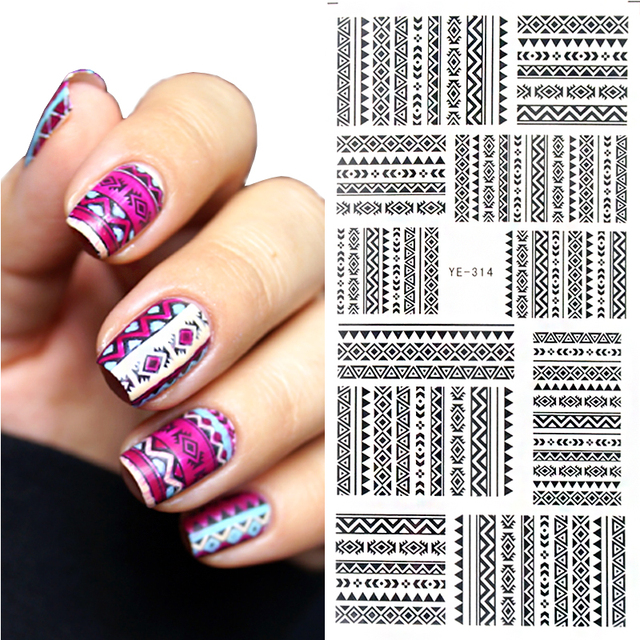 1 pc tribal geo pattern nail water decals black grid transfer nail 1 pc tribal geo pattern nail water decals black grid transfer nail art stickers ye prinsesfo Gallery