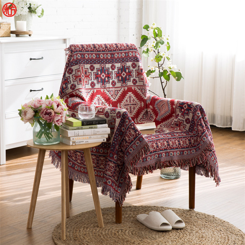 Home decor multifunction blanket red geometric yarn dyed blankets sofa chair cover tapestry 130*180cm 170*220cm floor carpet big size nordic navy blue gray mixed sofa cover blanket 130 170cm simple style wearable blanket sofa towel car blanket