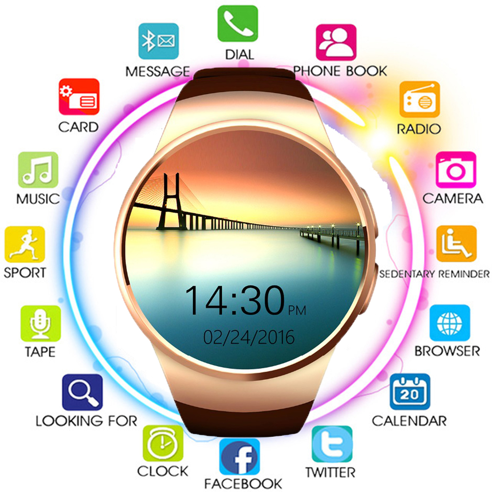 Monitor Smartwatch Support-Heart-Rate Bluetooth Apple KW18 Huawei Android Galaxy Samsung