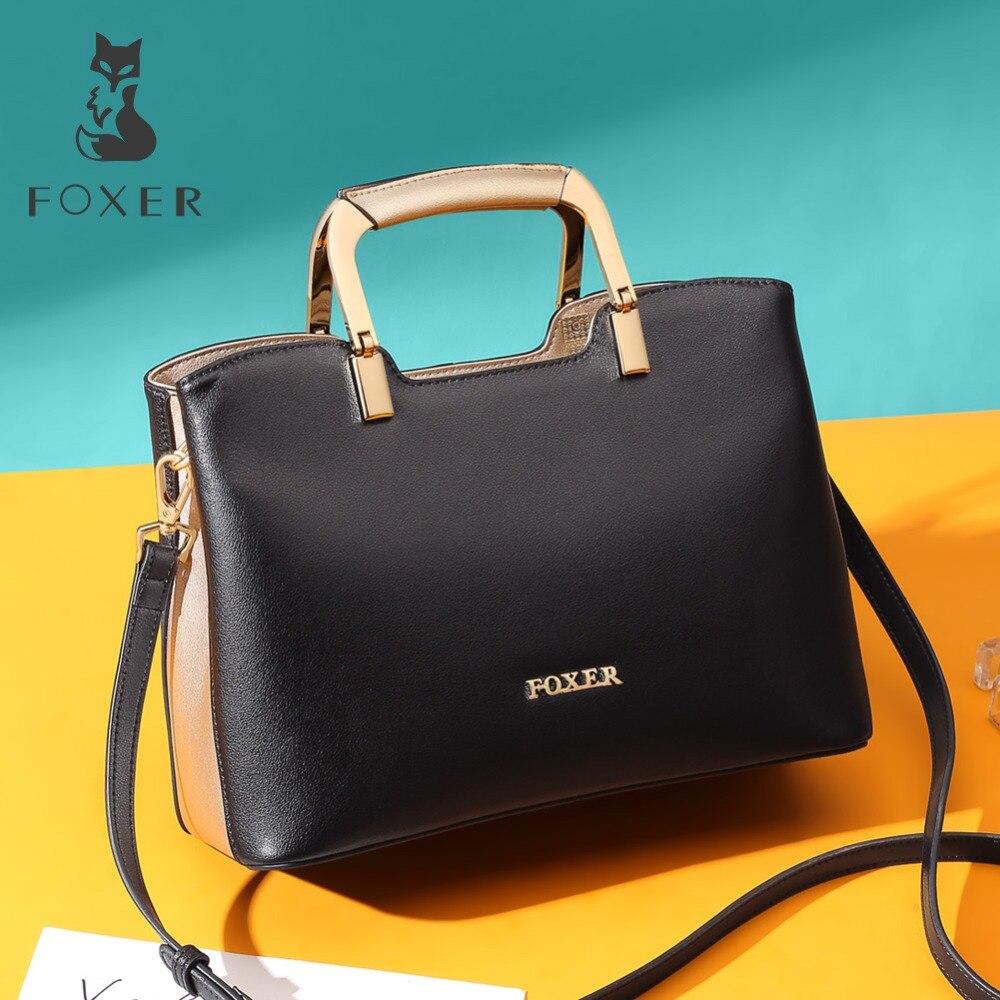 FOXER Brand Female Luxury Split Leathe Shoulder Bags Female Handbag Stylish Messenger Bags Large Capacity Women Lady Chic Totes