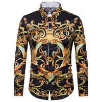 Luxury Design Gold Floral Print Men S Dress Shirts 2018 Brand New Slim Fit Long Sleeve