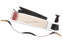 Longbowmaker Combination Set Traditional Mongolia Archery Gray Snakeskin Longbow Recurve Bow 6 Bamboo Arrows 20-60LBS C14QHG