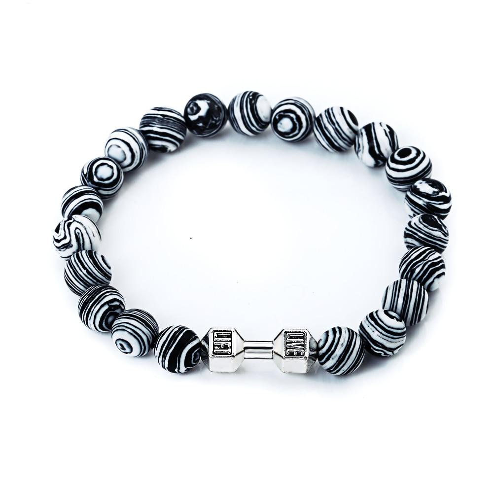 Classic Black White Striped Natural Stone Silver Metal Dumbbell Beaded Bracelets Femme DIY Jewelry Charm Bracelets For Women