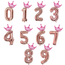 2Pcs 32/40 Crown Figures Foil Balloons Rose Gold Number Balloon Air Baloes Inflatable Birthday Party Decorations Kids Balls