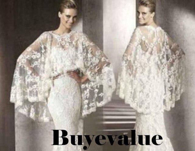 Lace White Ivory Shawl Bolero Wedding Jacket Bridal Shrug Wraps Custom Size T41
