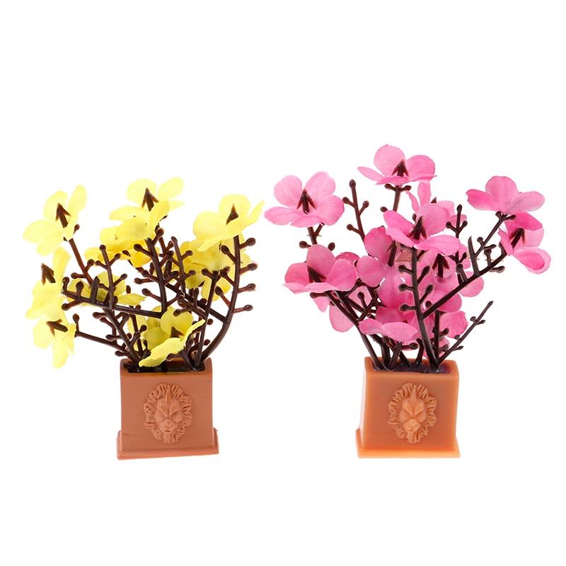 Artificial 1/12 Dollhouse Miniature Fake Green Plant Flower In Pot Fairy For Dollhouse Garden Decoration