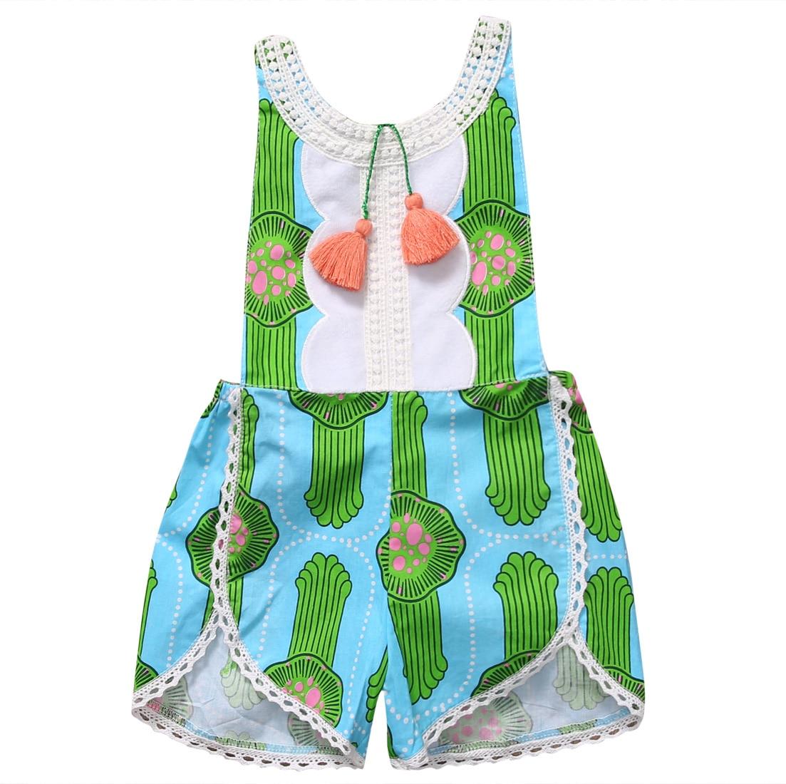 2017 Cute Cactus Summer Toddler Baby Girl Tassels Jumper Romper Jumpsuit Sunsuit Clothes