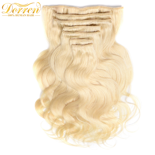 Doreen 200g Double Weft Full Head Golden Blonde Clip In Human Hair