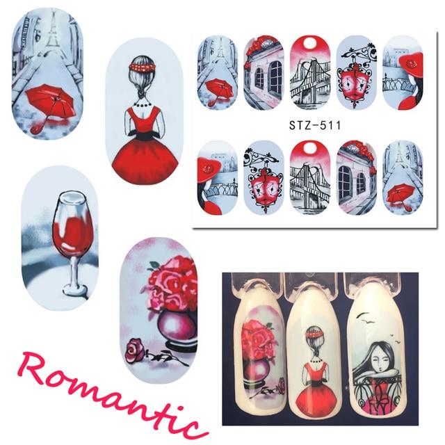 1 Lakens Mooie Romantische Sticker Rode Rok Meisje Nail Art Designs