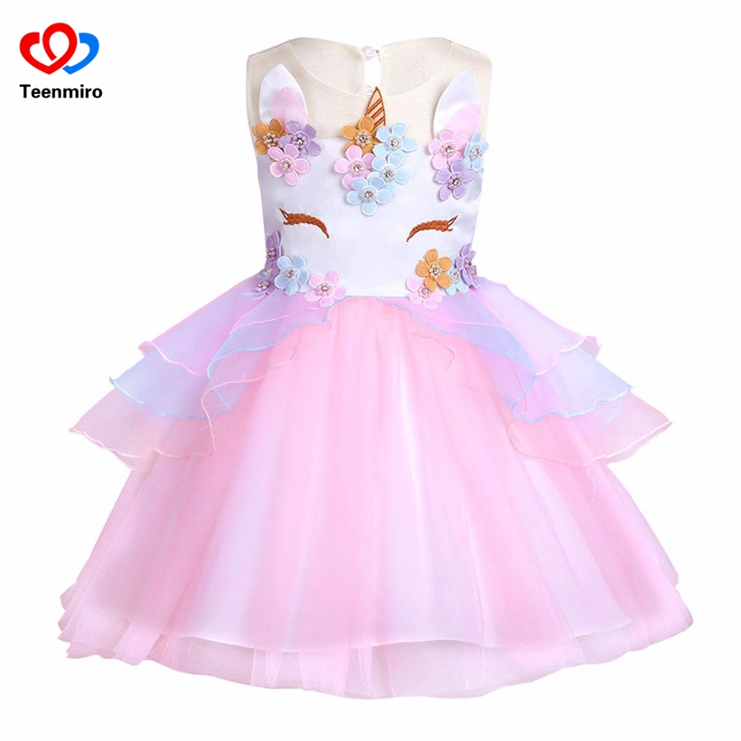 2018 Girls Unicorn Tulle Tutu Dress Kids Vest Striped Rainbow Princess Dresses Children Birthday Party Floral Cosplay Costumes rainbow striped dress