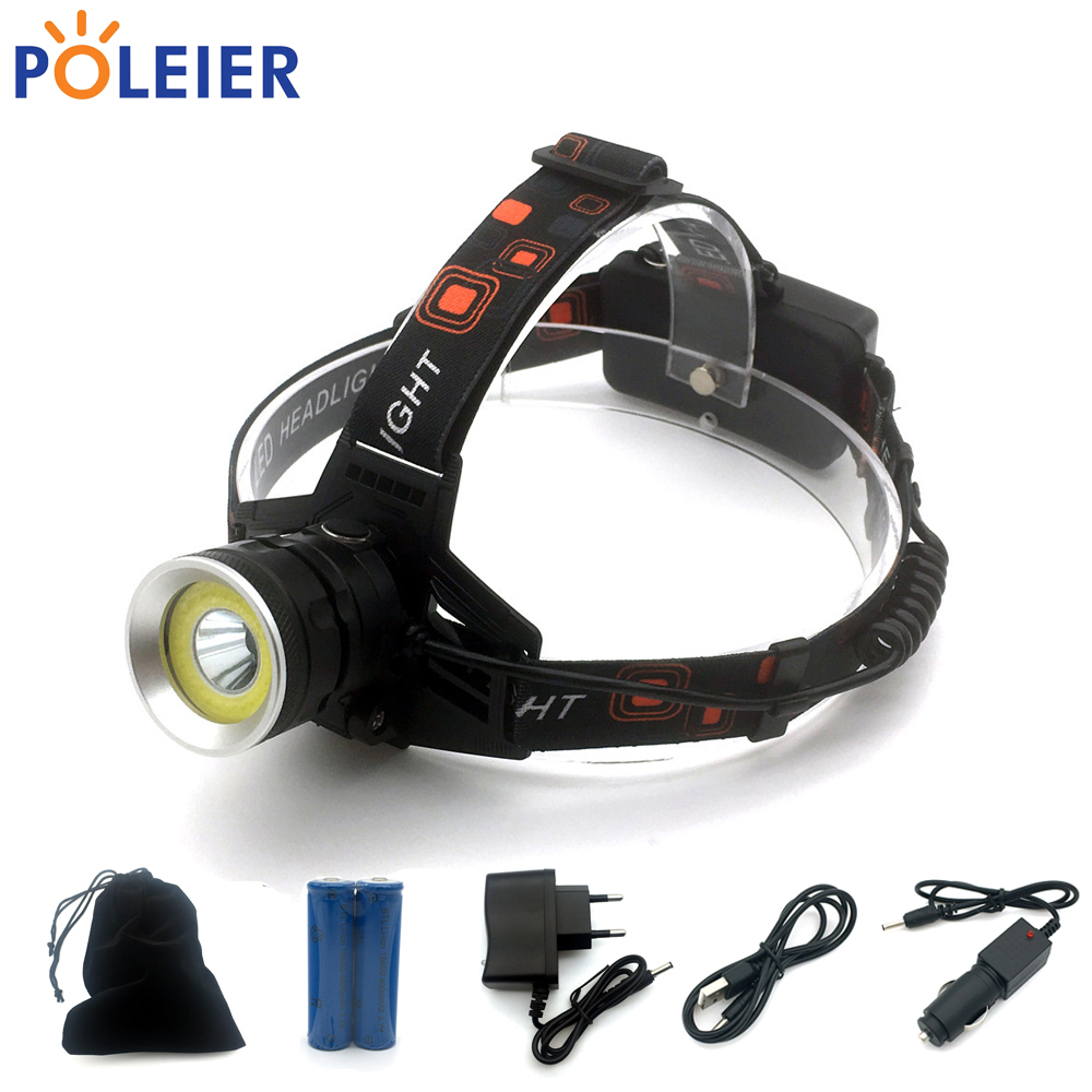7000 Lumens LED Headlight CREE chip Lantern XML T6 COB Headlamp red strobe Frontal Torch Waterproof