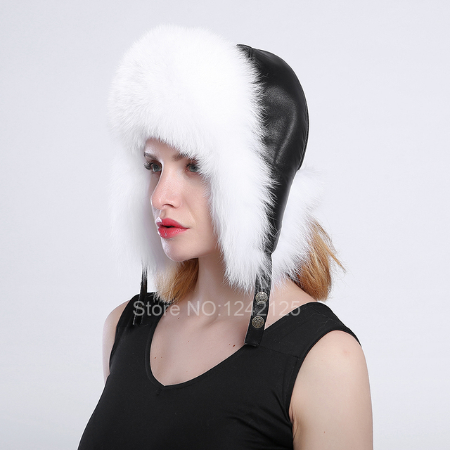 5291431c New Russia Winter girl lady women Real Fox Fur Hat Parent-child Earmuff  Warm black genuine leather top raccoon fur hats caps