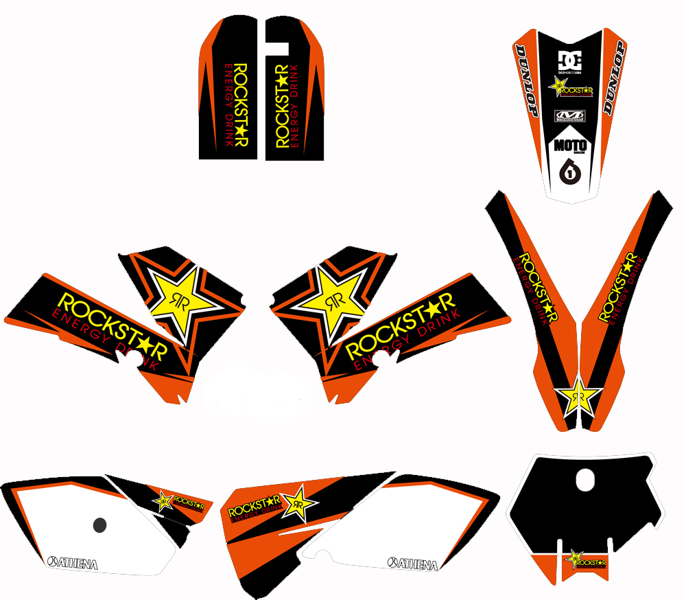 GRAPHICS BACKGROUNDS DECALS STICKERS Kits Fit for KTM SX85 2003 2004 2005 2006 2007 2008 2009
