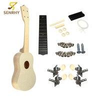 21 Pulgadas Sin Montar Instrumentos Rosewood Fretboard Uke Hawaii Guitarra Ukulele Madera DIY Kit Con Caja Musical Partes Accesorios