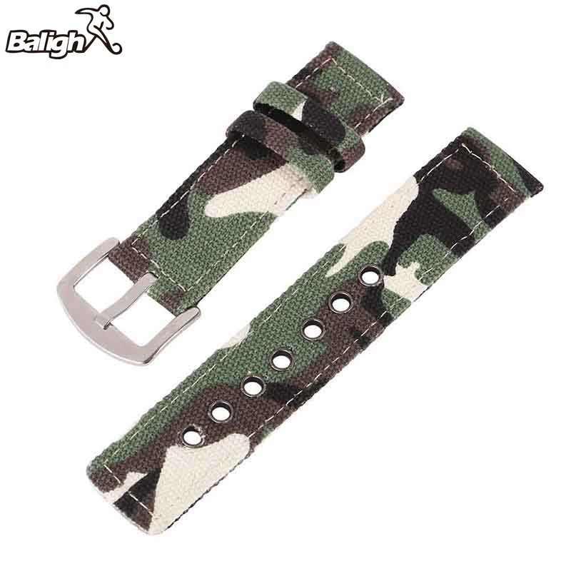 18mm 20mm 22mm 24mm płótno kamuflaż zegarek pasek zespołu dla kobiet mężczyzn zegarki akcesoria do paska bransoletka do zegarka na rękę