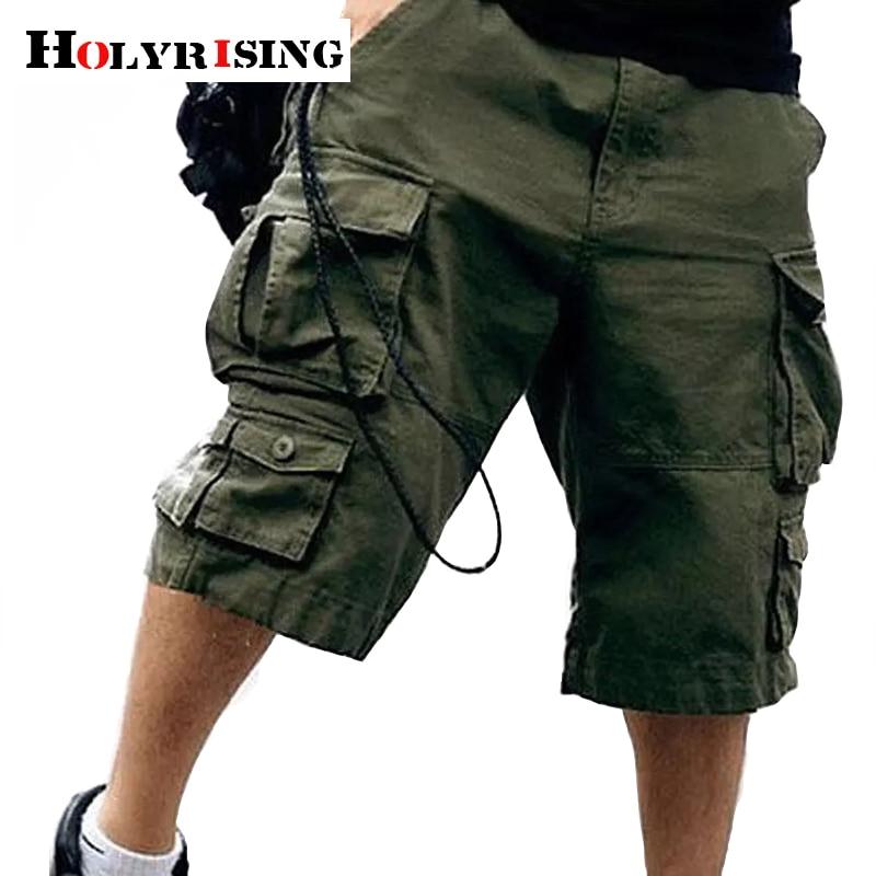 Holyrising Free Belt Men 100% Cotton Short Multi Pocket Military Short Men Camouflage Cargo Shorts Trousers 11 Colors 18803-5