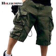 Holyrising pantalones cortos de algodón 100% para hombre, pantalón corto militar con múltiples bolsillos, pantalones Cargo de camuflaje, 11 colores, 18803 a 5