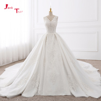 Jark Tozr Custom Made V neck Chapel Train Appliques Lace Gorgeous Ball Gown Wedding Dresses With Biggest Petticoat 2018 Mariage