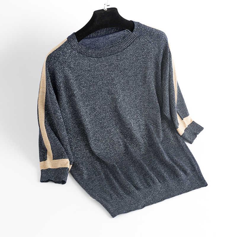 YISU dünnen Pullover Frauen kurzarm Pullover Frauen mode Helle seide Pullover Frauen 2019 Frühling Gestrickten pullover Tops Femme