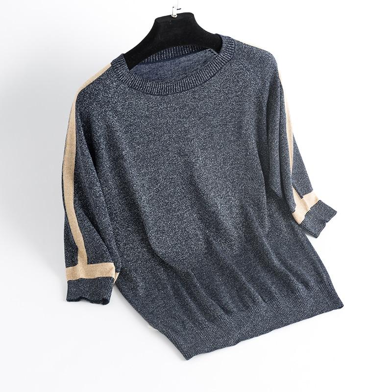 Clearance SaleYISU thin Sweater Women Short sleeve Pullover Women fashion Bright silk Sweaters Women 2019 Spring Knitted sweaters Tops Femme
