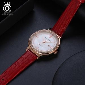Image 5 - ORSA klejnoty luksusowe kobiety na rękę bransoletka do zegarka wodoodporny panie kwarcowy zegarki z prawdziwej skóry kryształ kamień pasek do zegarka Reloj OOW07