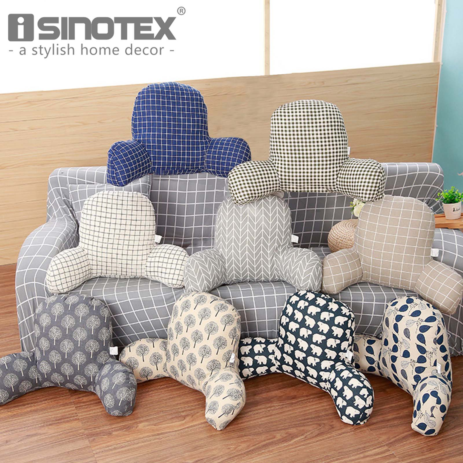 1-Piece Cotton Linen Back Cushion With Arm Support For Sofa Car Bed Rest Printed Cushion Include Pillow Core Washable