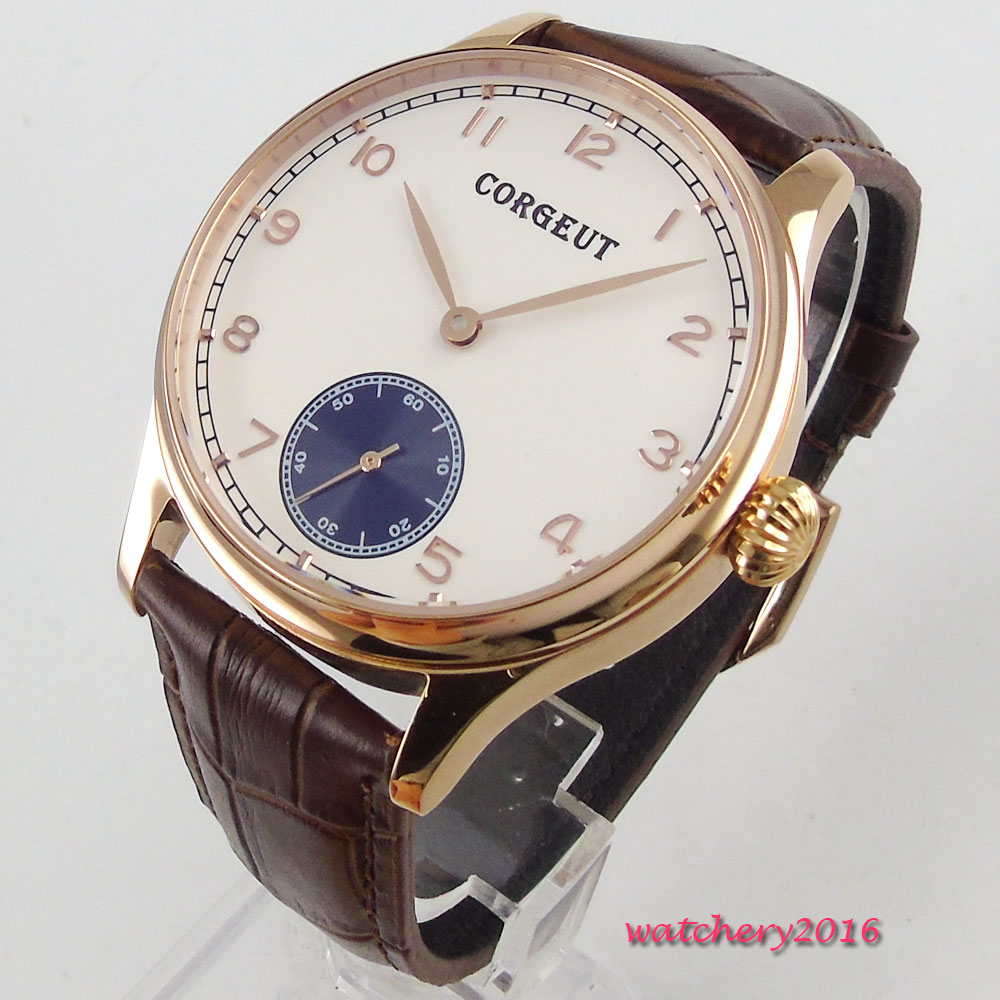 44mm Corgeut white dial SS rose golden Case 17 jewels 6498 movement Hand Winding Mechanical Men's Watch corgeut 44mm white dial rose golden case hand winding 6498 mens watch