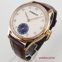 44mm Corgeut white dial SS rose golden Case 17 jewels 6498 movement Hand Winding Mechanical Men's Watch цены
