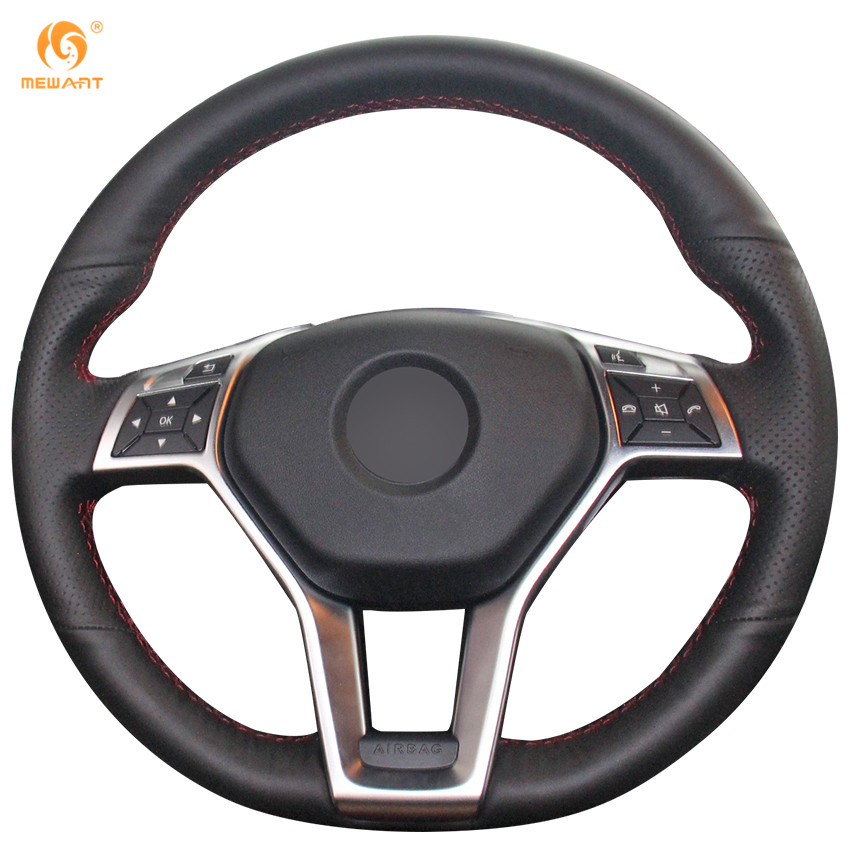 MEWANT Black Genuine Leather Car Steering Wheel Cover for Mercedes Benz A-Class 2013-2015 CLA-Class 2013 2014 C-Class 2013 2014 black rear trunk security shade cargo cover for mercedes benz glk class x204 20082009 2010 2011 2012 2013 2014 2015