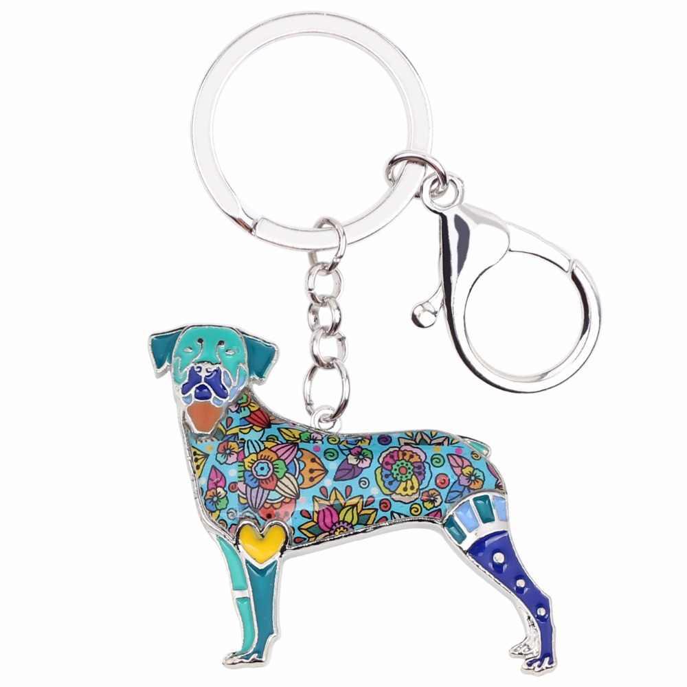Bonsny esmalte aleación Anime Rottweiler perro llaveros coche bolsa monedero llaveros para niñas señora 2019 encantos Decoración regalo