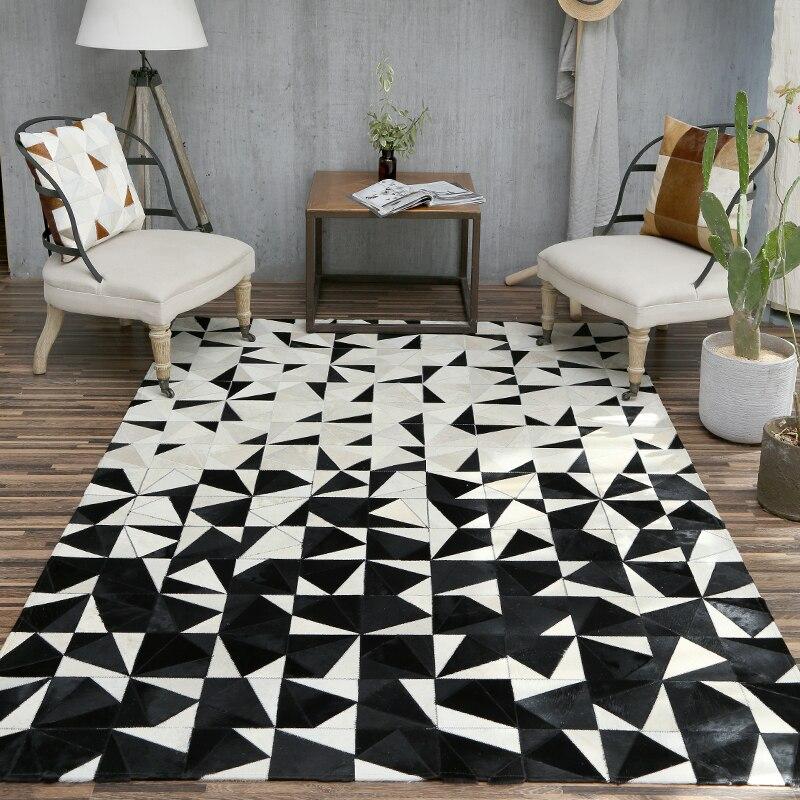 Tapis de luxe de peau de vache de style nordique, tapis naturel de fourrure de peau de vache pour le tapis de bureau de décoration de salon