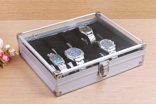 Envío Gratis, 10 ranuras, Caja expositor de relojes de muñeca, organizador de almacenamiento, caja cuadrada de aluminio, gran venta, Worldwide12