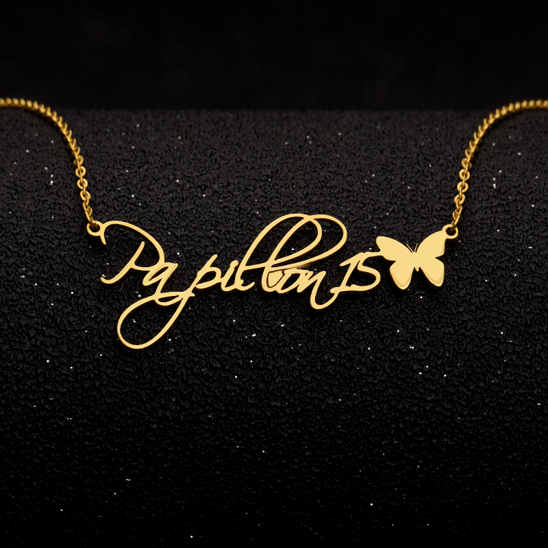 Personalized Name Necklece with Heart/Crown/Butterfly Custom Script Font Necklace For Women Maxi Colar jewelry