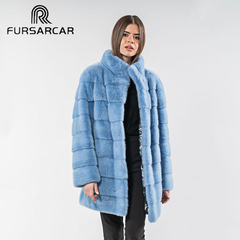 FURSARCAR Femme Blue Mink Fur Coat Luxury 2019 Fashion Winter Natural Fur Jacket For Women Warm Thick Down Outwear With Collar