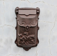Cast Iron Mailbox Postbox Mail Box Wall Mount Metal Post Letters Box Garden Yard Patio Lawn Outdoor Art