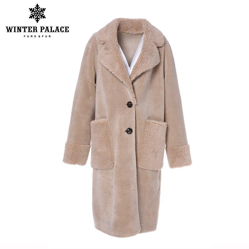 Pałac zimowy 2019 kobiet nowy płaszcz z wełny długi garnitur kołnierz z 30% wełna zima ciepły klasyczny styl futra płaszcz z wełny mieszanka wielu C w Prawdziwe futro od Odzież damska na  Grupa 2