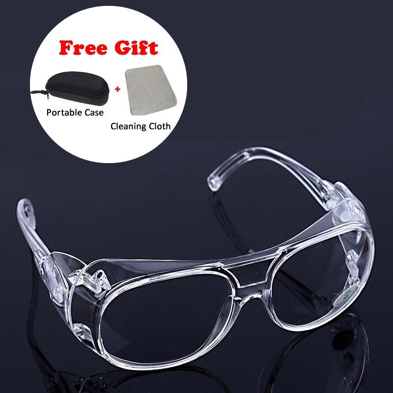 b651ac4739 Gafas de seguridad de trabajo lentes transparentes con funda resistente a  los impactos Anti-salpicaduras viento a prueba de polvo gafas protectoras  para ...