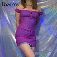 Bazaleas Сетчатое фиолетовое летнее черное сексуальное женское платье с открытыми плечами тонкие мини-платья винтажные Клубные платья вечерни...