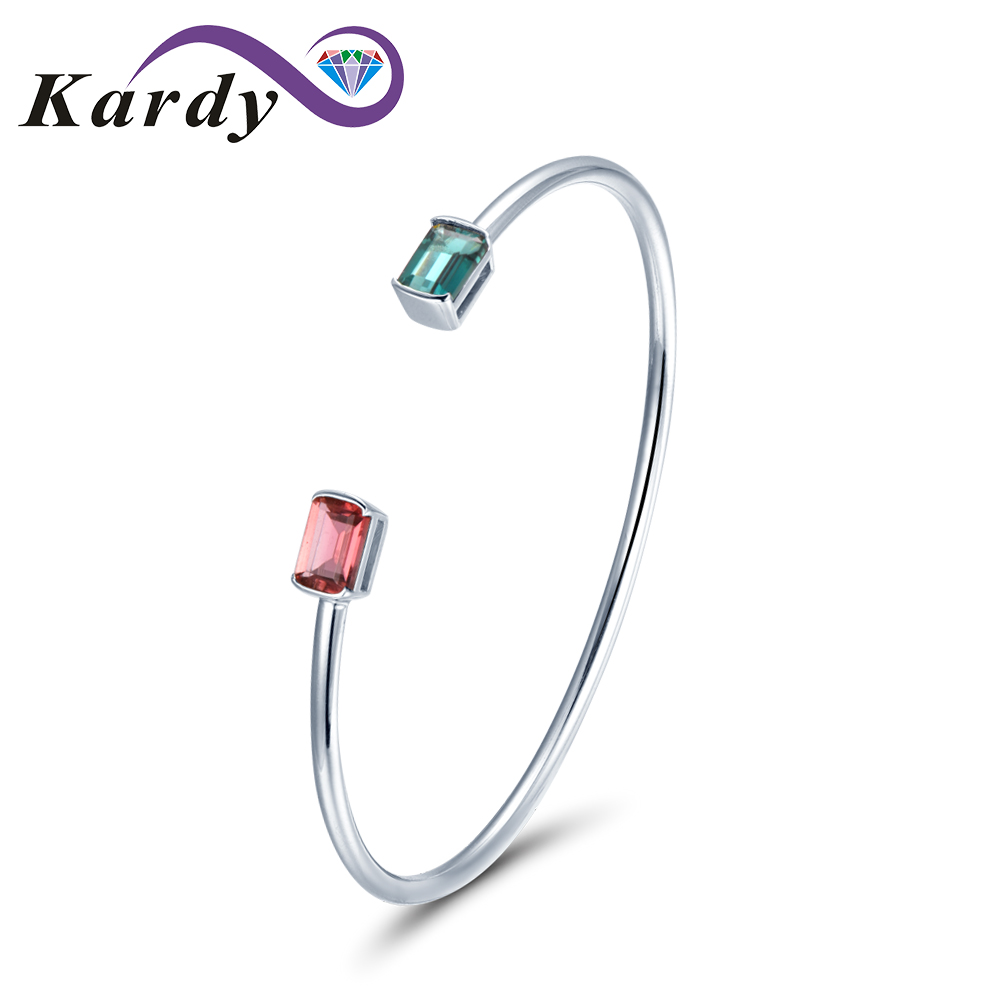 Us 559 99 Unique Fashion Two Color Natural Tourmaline Gemstone 14k Solid White Gold Bracelet Bangle For Women In Bracelets Bangles From Jewelry