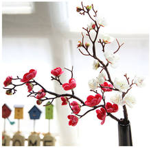 Plum Cherry blossoms Artificial Silk flowers flores Sakura tree branches Home table living room Decor DIY Wedding Decoration(China)