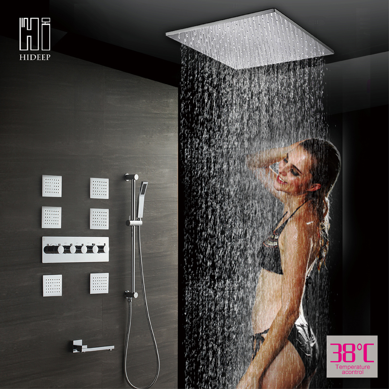 HIDEEP Rainfall Shower Head System Polished Chrome Bath & Shower Faucet Solid Brass Bathroom Shower Set Combo Set Wall Mounted chrome polished rainfall solid brass shower bath thermostatic shower faucet set mixer tap with double hand sprayer wall mounted